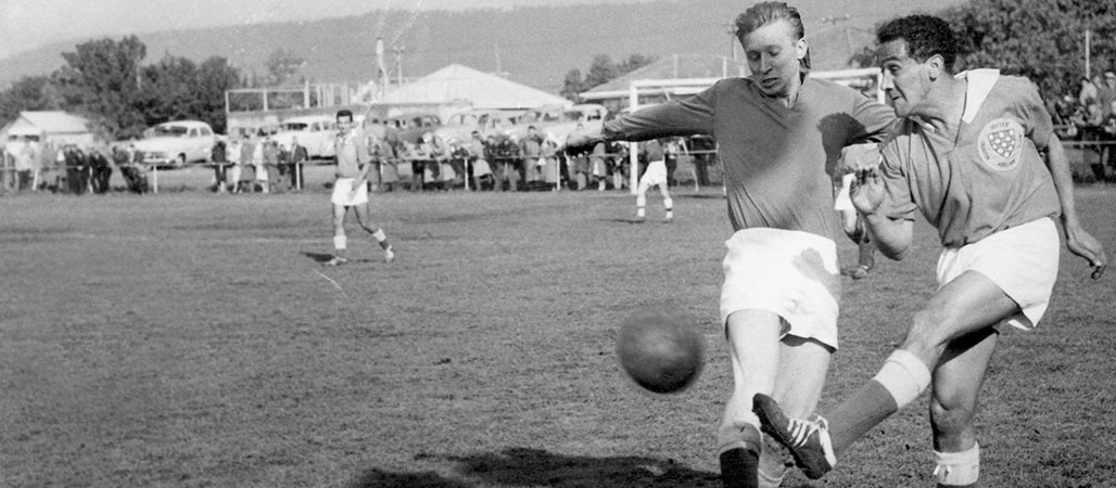 Charlie Perkins playing for Adelaide Croatia FC, 1961 (Adelaide Croatia FC)